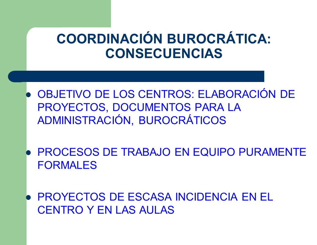 COORDINACIÓN BUROCRÁTICA: CONSECUENCIAS