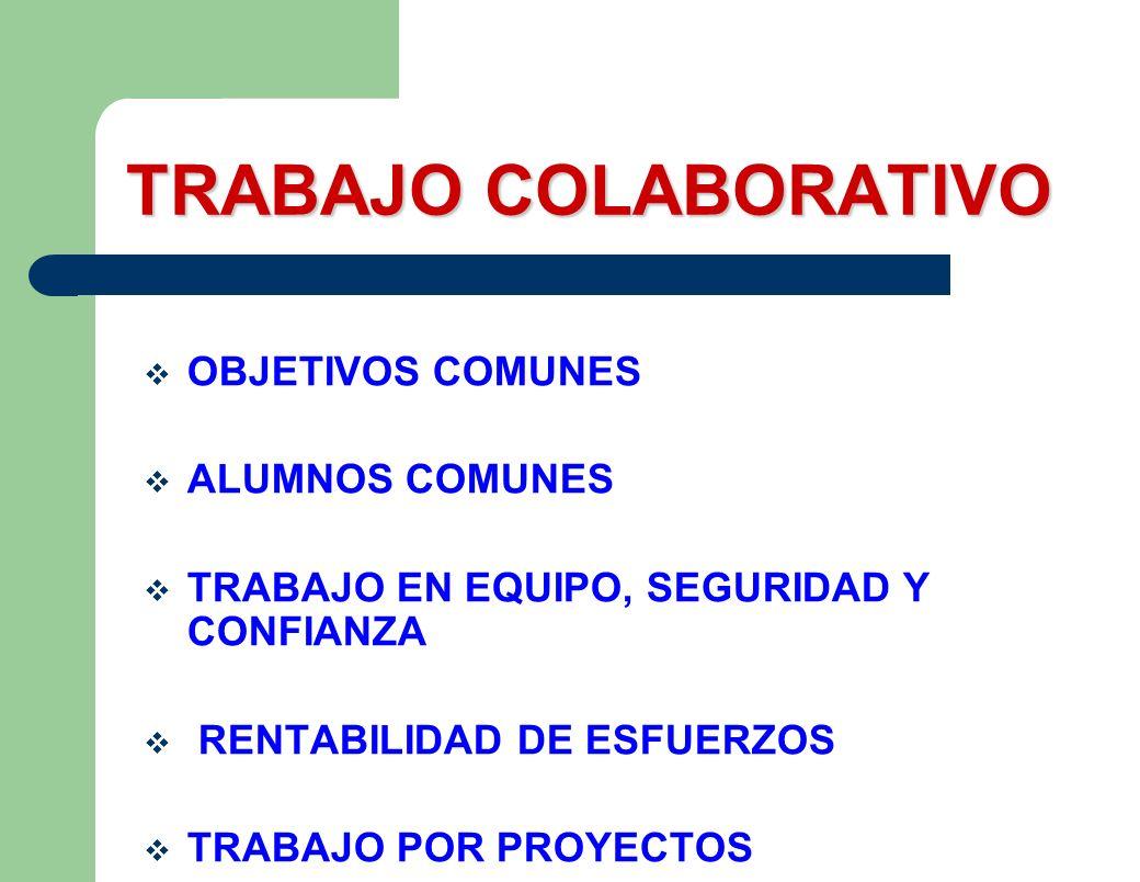 TRABAJO COLABORATIVO OBJETIVOS COMUNES ALUMNOS COMUNES