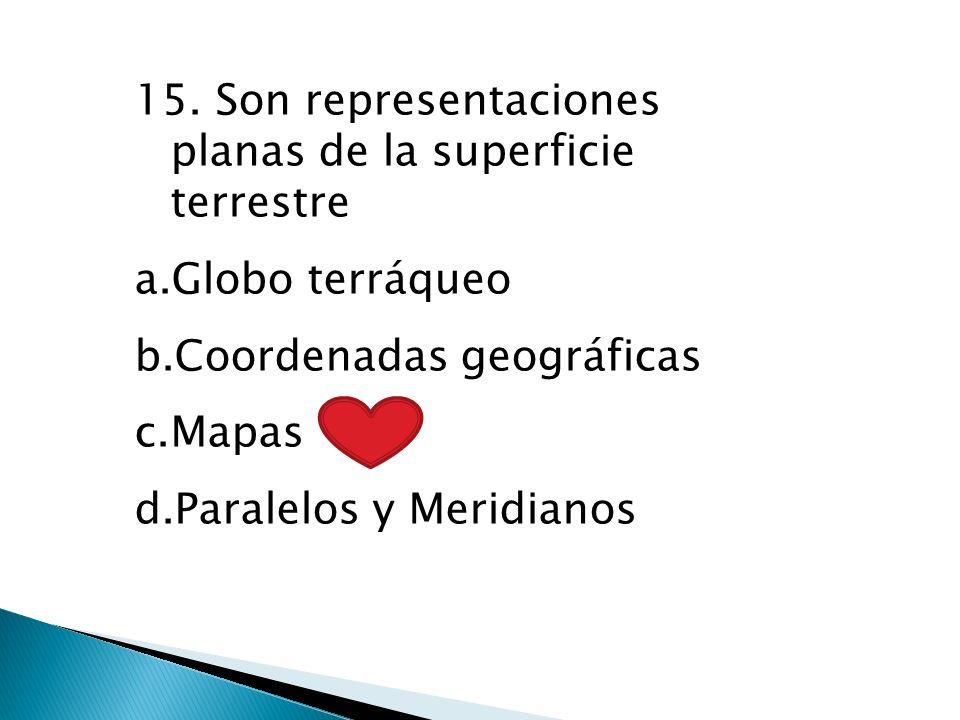 15. Son representaciones planas de la superficie terrestre