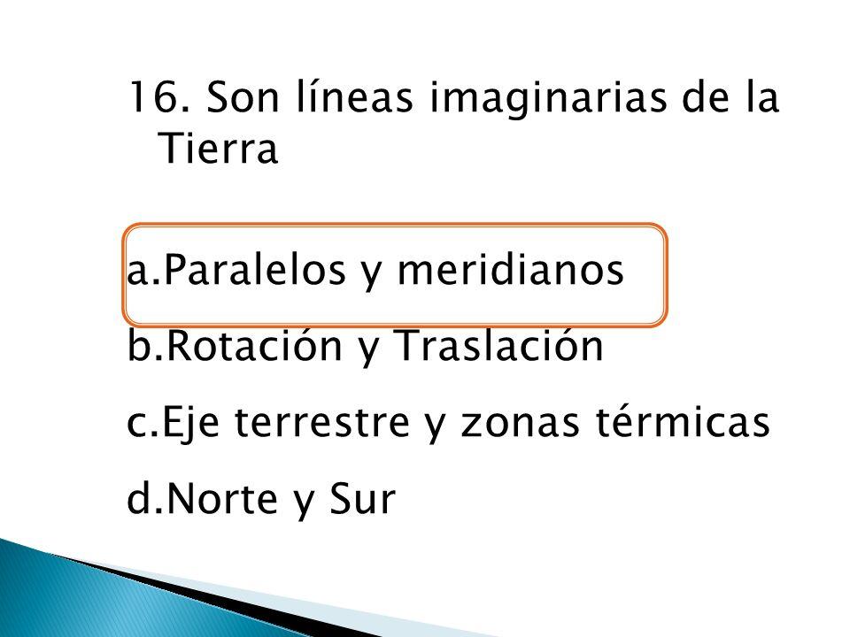 16. Son líneas imaginarias de la Tierra