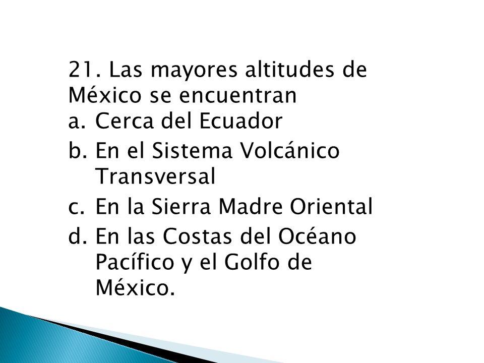 21. Las mayores altitudes de México se encuentran