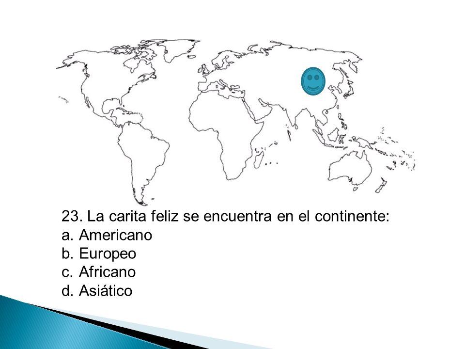 23. La carita feliz se encuentra en el continente: