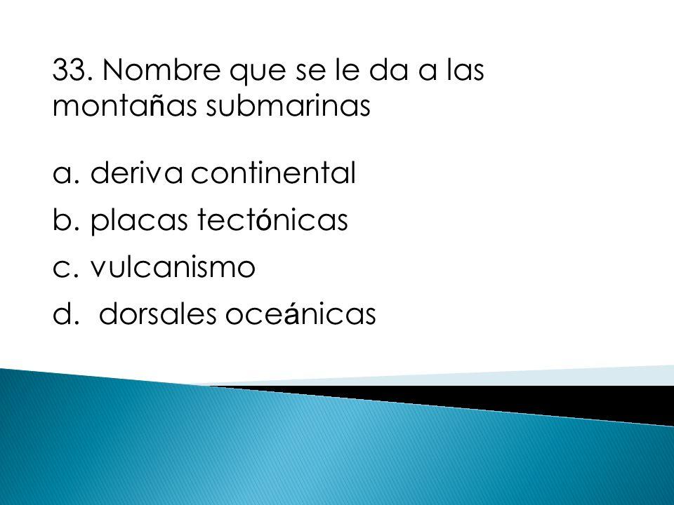 33. Nombre que se le da a las montañas submarinas