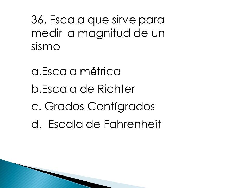 36. Escala que sirve para medir la magnitud de un sismo