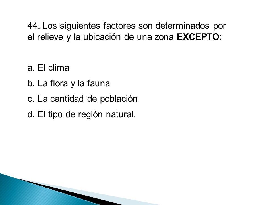 44. Los siguientes factores son determinados por el relieve y la ubicación de una zona EXCEPTO: