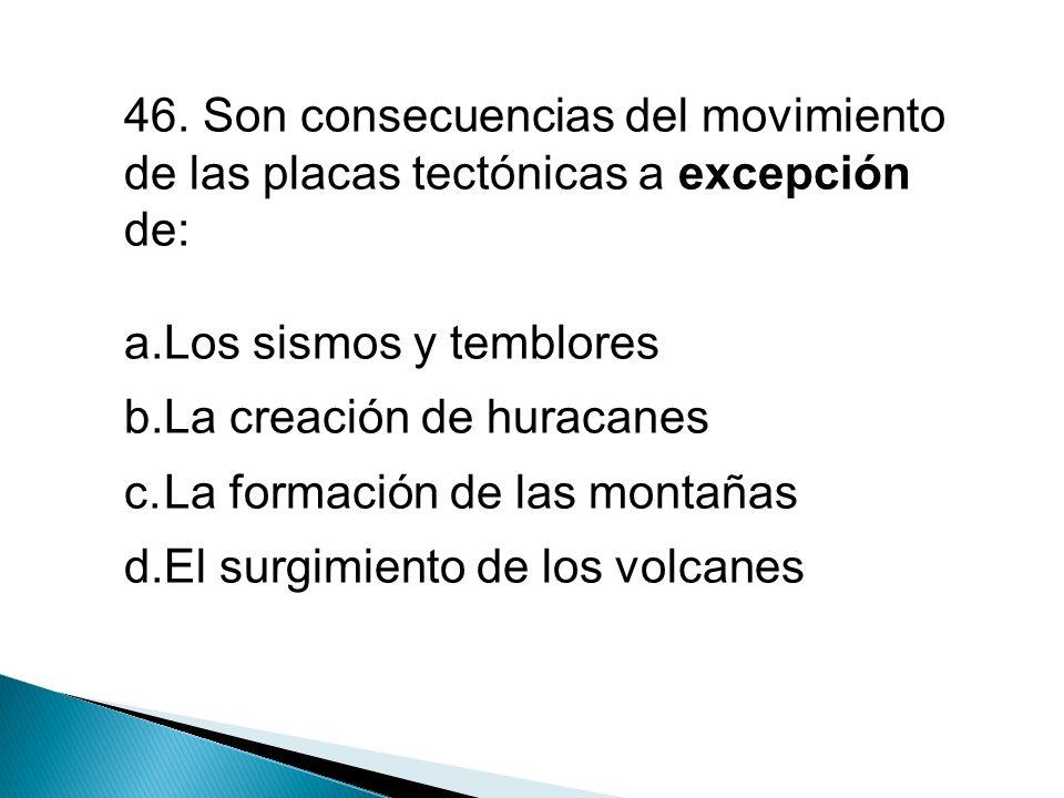 46. Son consecuencias del movimiento de las placas tectónicas a excepción de: