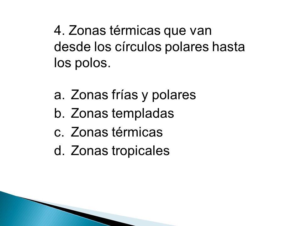4. Zonas térmicas que van desde los círculos polares hasta los polos.