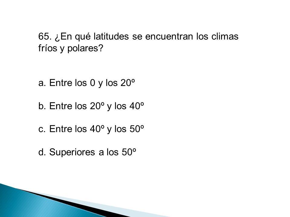 65. ¿En qué latitudes se encuentran los climas fríos y polares
