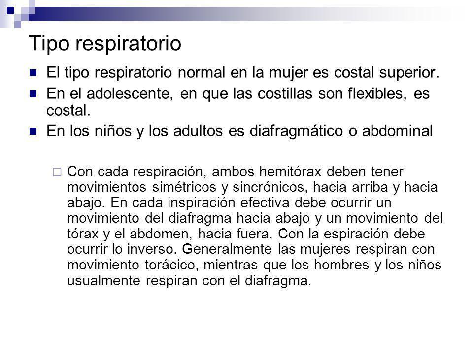 Tipo respiratorio El tipo respiratorio normal en la mujer es costal superior. En el adolescente, en que las costillas son flexibles, es costal.