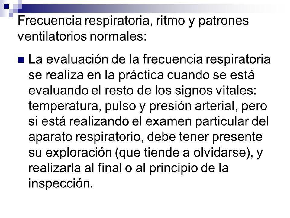 Frecuencia respiratoria, ritmo y patrones ventilatorios normales: