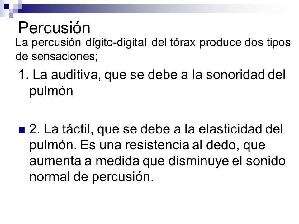 Percusión 1. La auditiva, que se debe a la sonoridad del pulmón