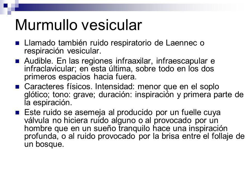 Murmullo vesicular Llamado también ruido respiratorio de Laennec o respiración vesicular.