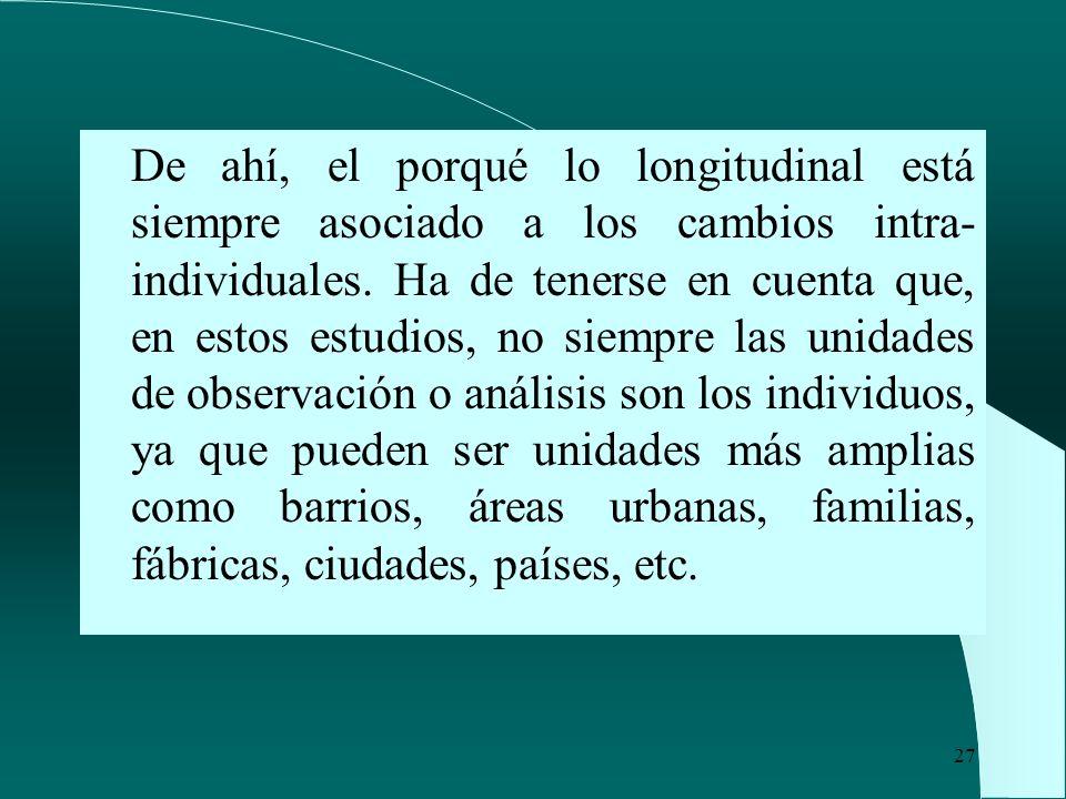 De ahí, el porqué lo longitudinal está siempre asociado a los cambios intra-individuales.