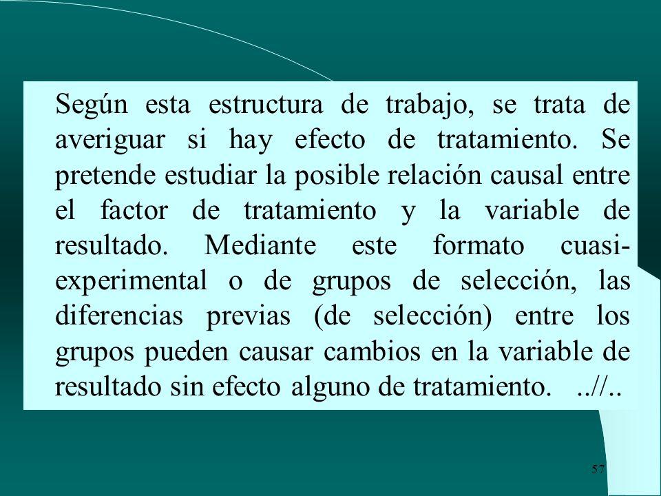 Según esta estructura de trabajo, se trata de averiguar si hay efecto de tratamiento.