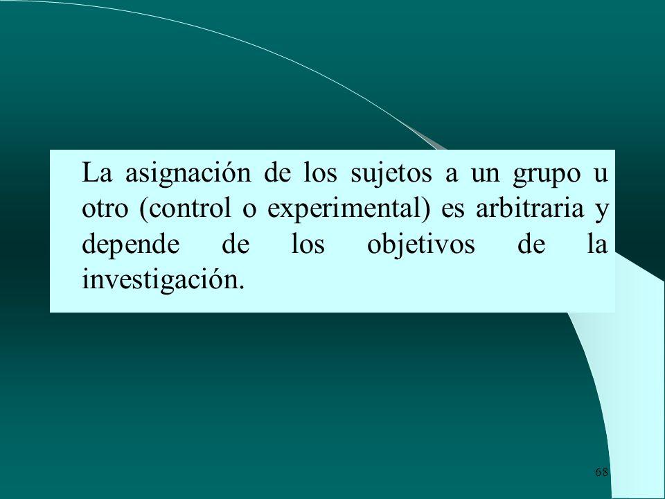 La asignación de los sujetos a un grupo u otro (control o experimental) es arbitraria y depende de los objetivos de la investigación.