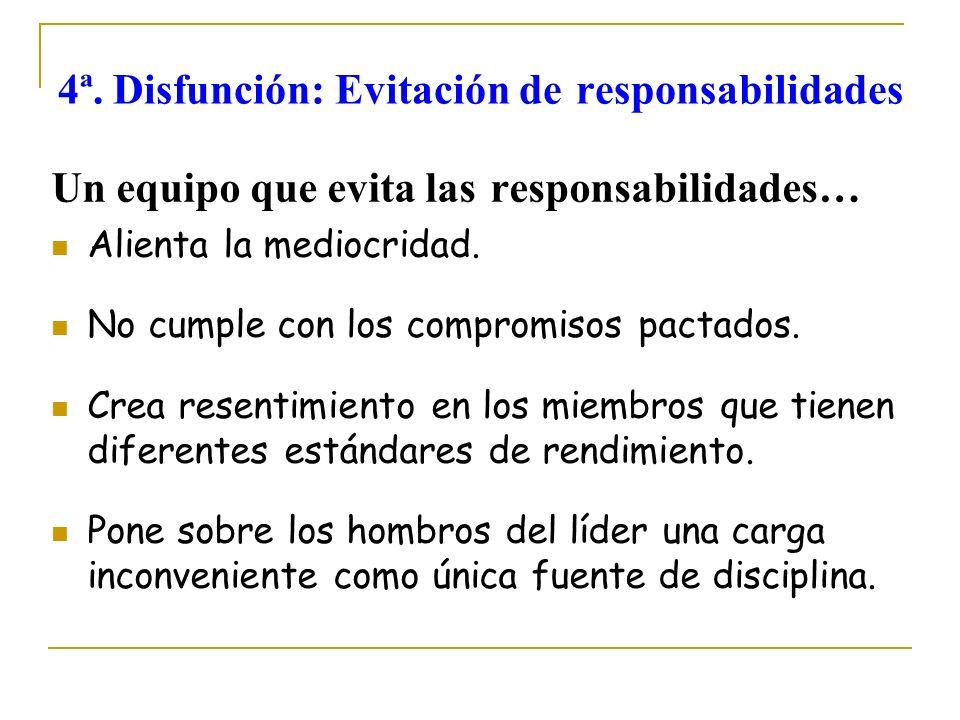 4ª. Disfunción: Evitación de responsabilidades