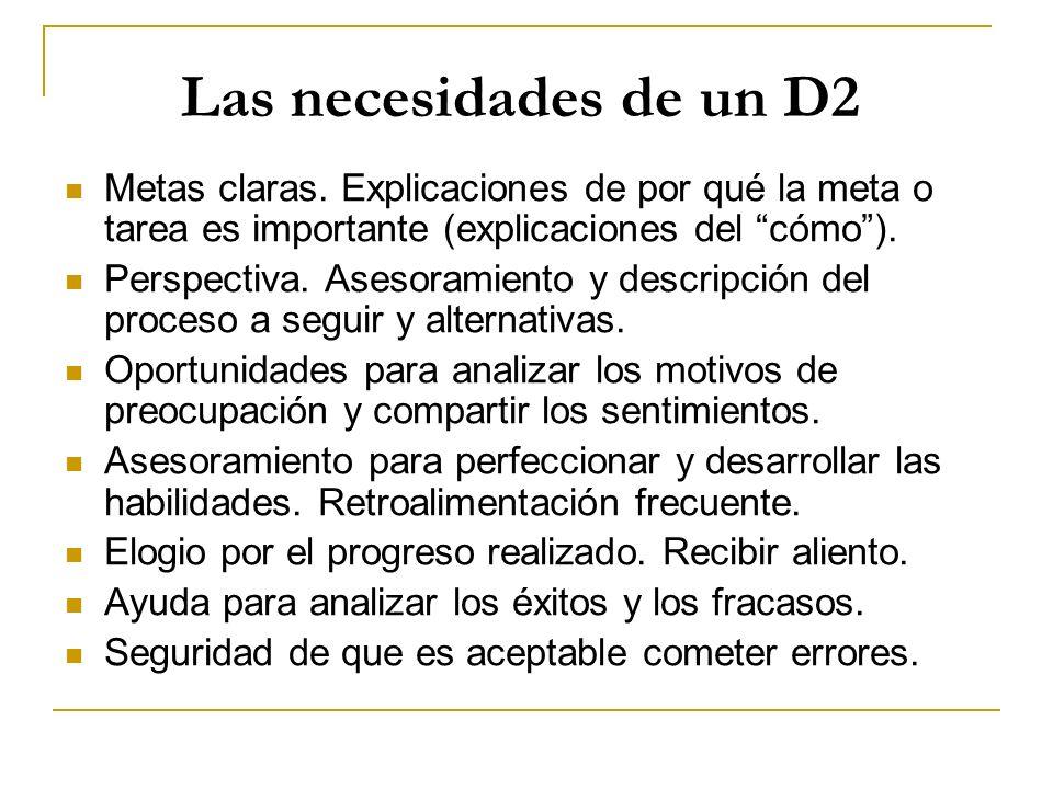 Las necesidades de un D2 Metas claras. Explicaciones de por qué la meta o tarea es importante (explicaciones del cómo ).