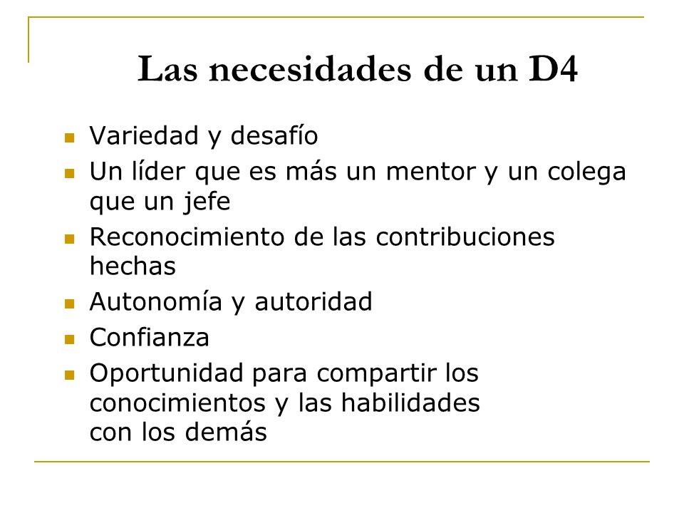 Las necesidades de un D4 Variedad y desafío