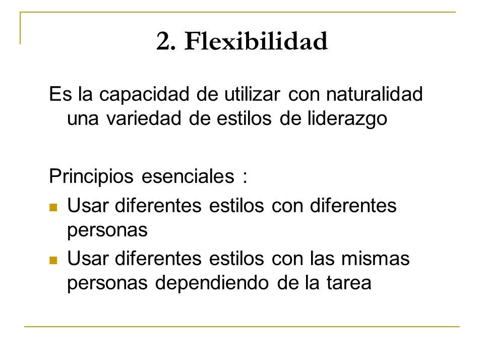 2. Flexibilidad Es la capacidad de utilizar con naturalidad una variedad de estilos de liderazgo. Principios esenciales :