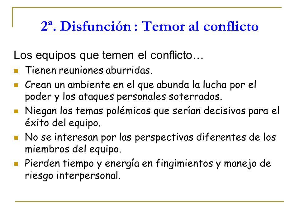 2ª. Disfunción : Temor al conflicto