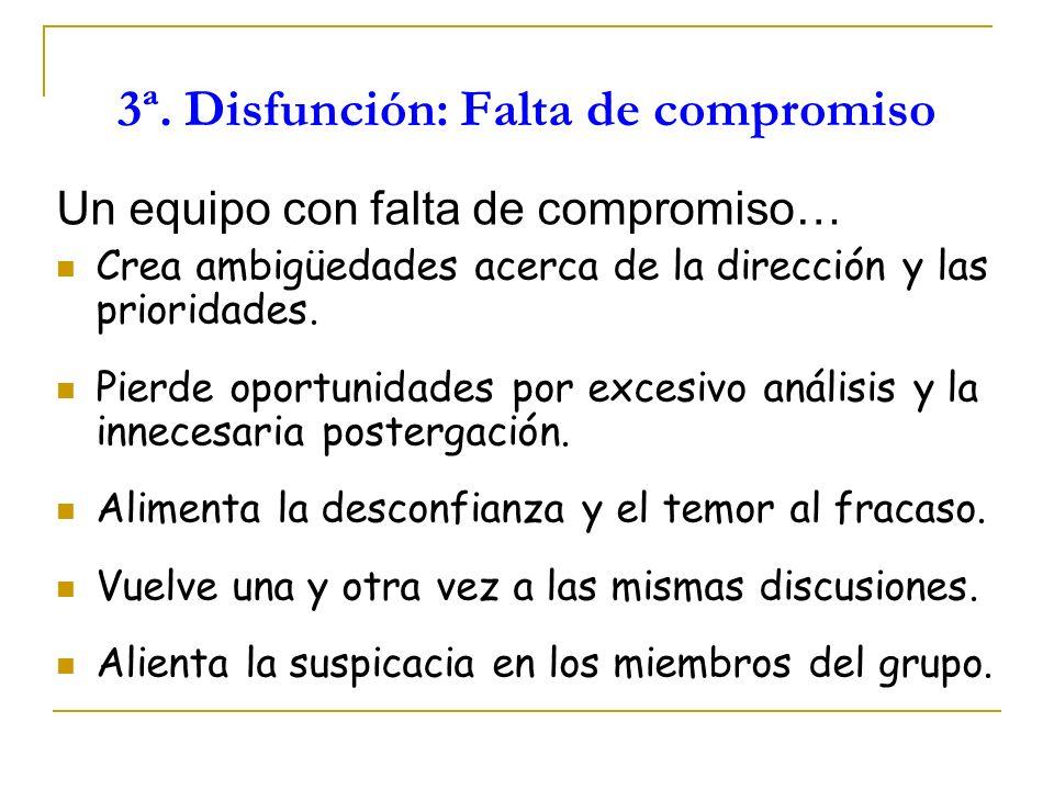 3ª. Disfunción: Falta de compromiso