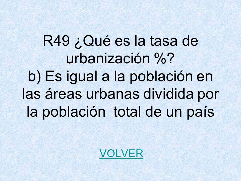 R49 ¿Qué es la tasa de urbanización %