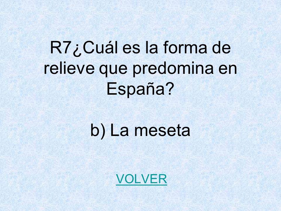 R7¿Cuál es la forma de relieve que predomina en España b) La meseta