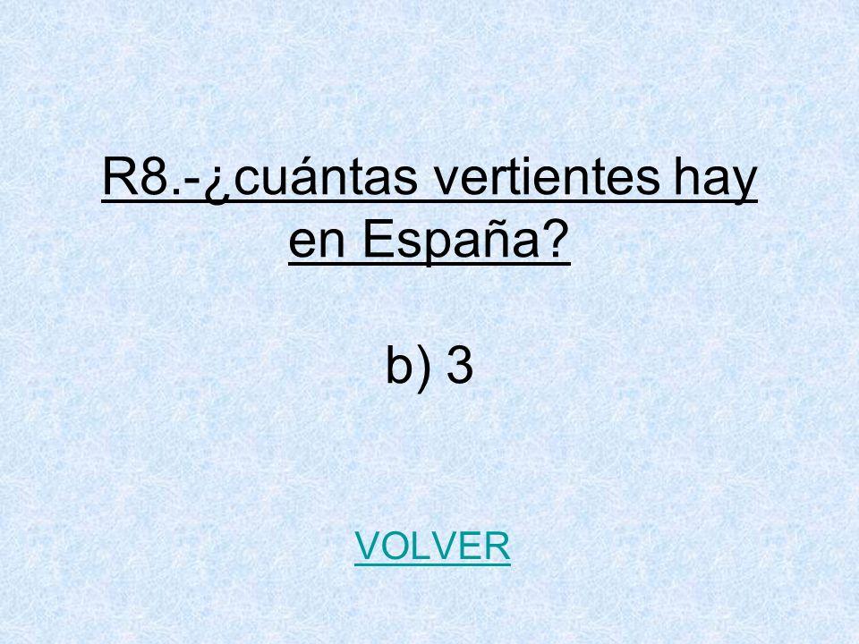 R8.-¿cuántas vertientes hay en España b) 3