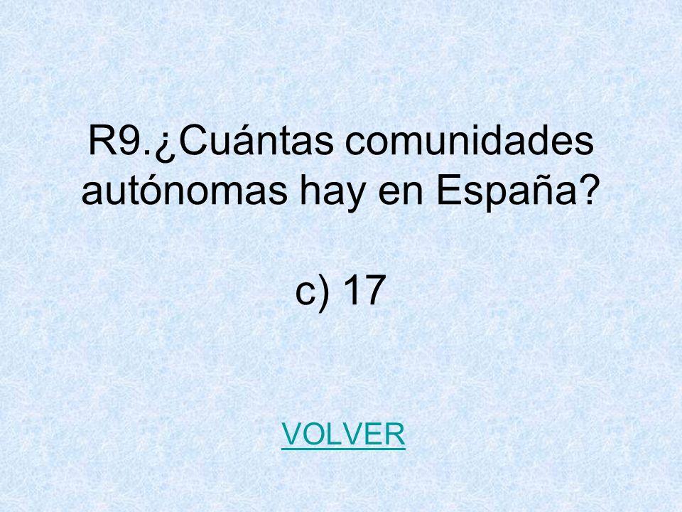 R9.¿Cuántas comunidades autónomas hay en España c) 17