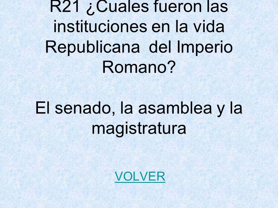 R21 ¿Cuales fueron las instituciones en la vida Republicana del Imperio Romano El senado, la asamblea y la magistratura