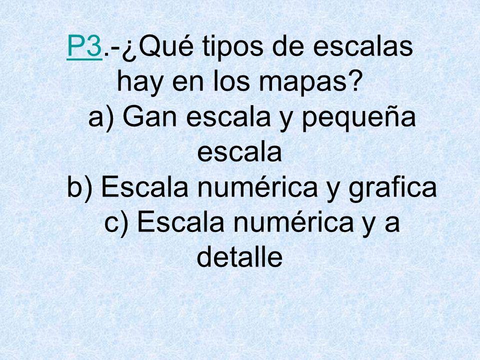 P3. -¿Qué tipos de escalas hay en los mapas