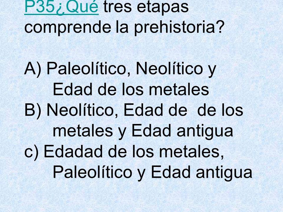 P35¿Qué tres etapas comprende la prehistoria