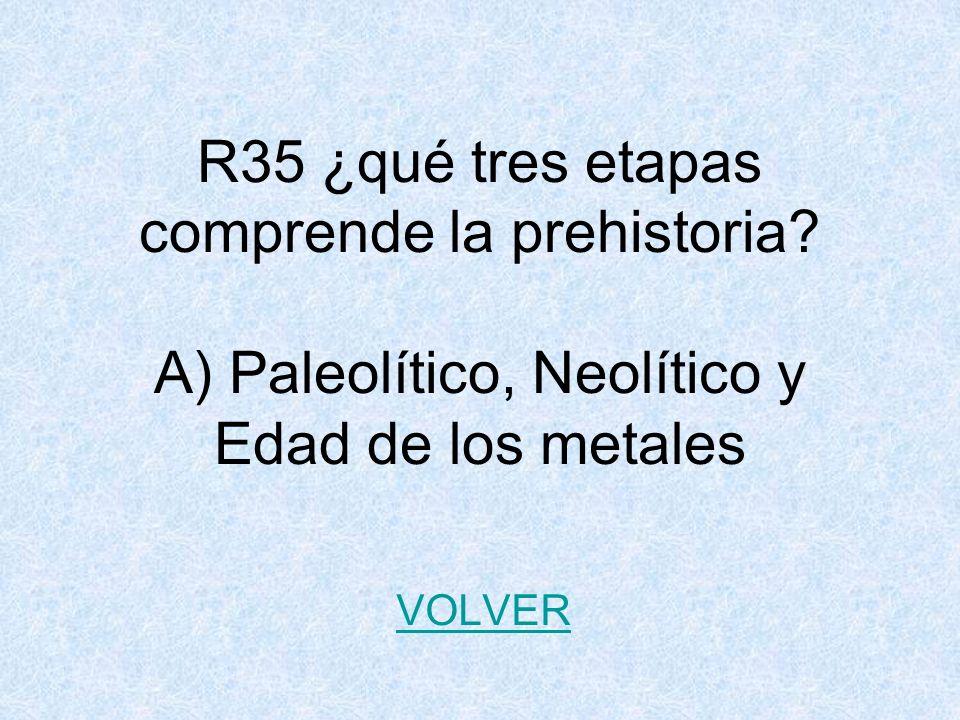 R35 ¿qué tres etapas comprende la prehistoria