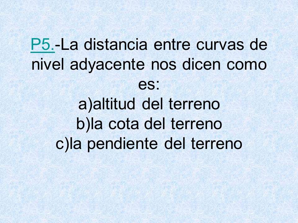 P5.-La distancia entre curvas de nivel adyacente nos dicen como es: a)altitud del terreno b)la cota del terreno c)la pendiente del terreno