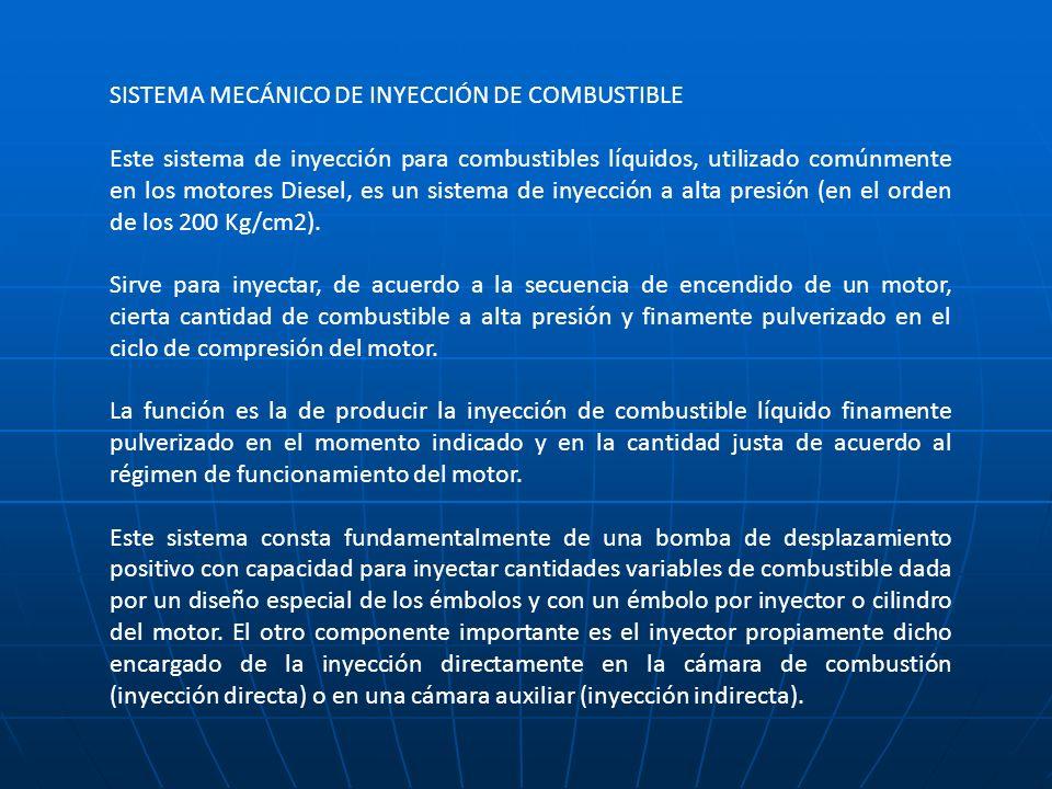 SISTEMA MECÁNICO DE INYECCIÓN DE COMBUSTIBLE