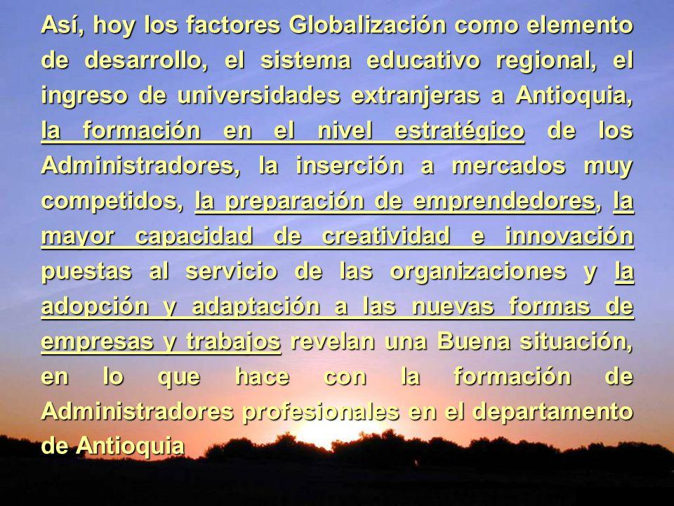 Así, hoy los factores Globalización como elemento de desarrollo, el sistema educativo regional, el ingreso de universidades extranjeras a Antioquia, la formación en el nivel estratégico de los Administradores, la inserción a mercados muy competidos, la preparación de emprendedores, la mayor capacidad de creatividad e innovación puestas al servicio de las organizaciones y la adopción y adaptación a las nuevas formas de empresas y trabajos revelan una Buena situación, en lo que hace con la formación de Administradores profesionales en el departamento de Antioquia