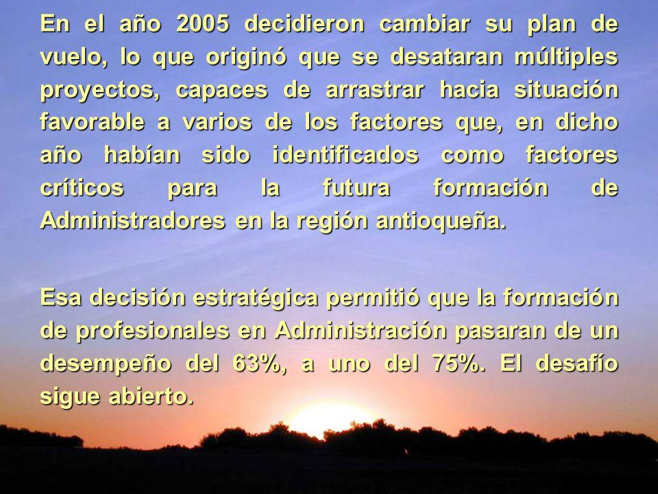 En el año 2005 decidieron cambiar su plan de vuelo, lo que originó que se desataran múltiples proyectos, capaces de arrastrar hacia situación favorable a varios de los factores que, en dicho año habían sido identificados como factores críticos para la futura formación de Administradores en la región antioqueña.