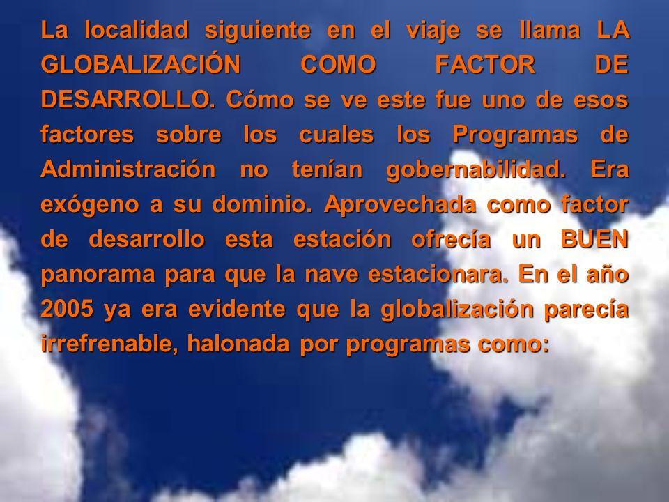 La localidad siguiente en el viaje se llama LA GLOBALIZACIÓN COMO FACTOR DE DESARROLLO.