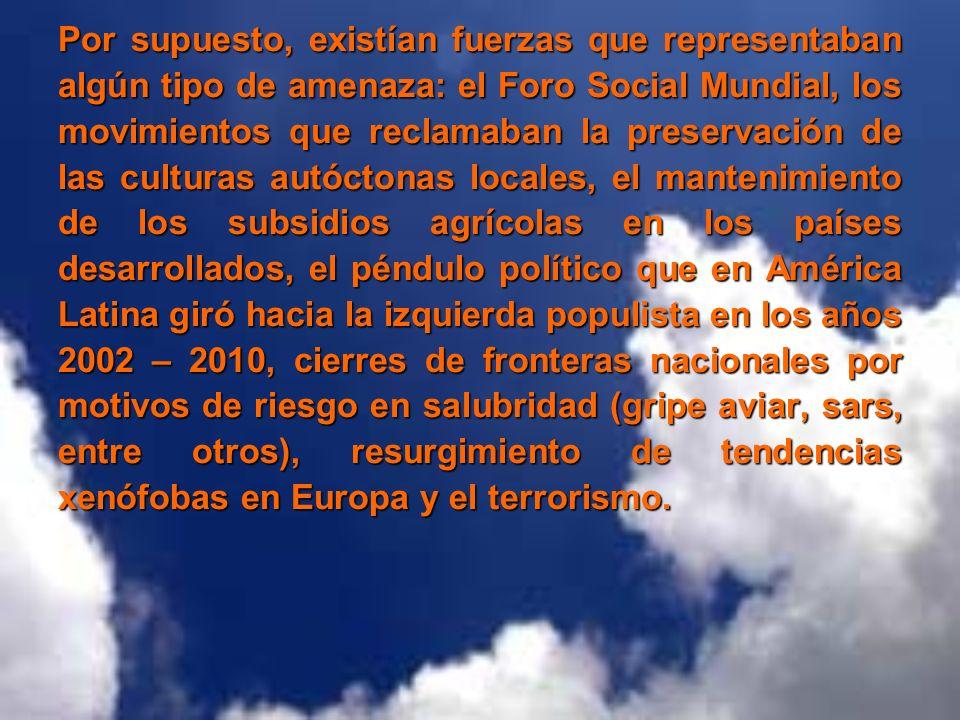 Por supuesto, existían fuerzas que representaban algún tipo de amenaza: el Foro Social Mundial, los movimientos que reclamaban la preservación de las culturas autóctonas locales, el mantenimiento de los subsidios agrícolas en los países desarrollados, el péndulo político que en América Latina giró hacia la izquierda populista en los años 2002 – 2010, cierres de fronteras nacionales por motivos de riesgo en salubridad (gripe aviar, sars, entre otros), resurgimiento de tendencias xenófobas en Europa y el terrorismo.