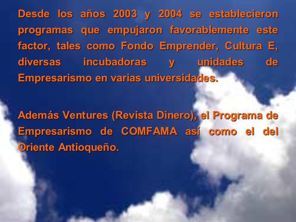 Desde los años 2003 y 2004 se establecieron programas que empujaron favorablemente este factor, tales como Fondo Emprender, Cultura E, diversas incubadoras y unidades de Empresarismo en varias universidades.