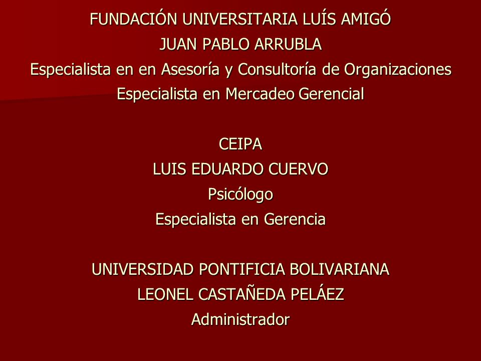 FUNDACIÓN UNIVERSITARIA LUÍS AMIGÓ JUAN PABLO ARRUBLA