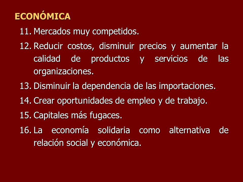 ECONÓMICA Mercados muy competidos. Reducir costos, disminuir precios y aumentar la calidad de productos y servicios de las organizaciones.