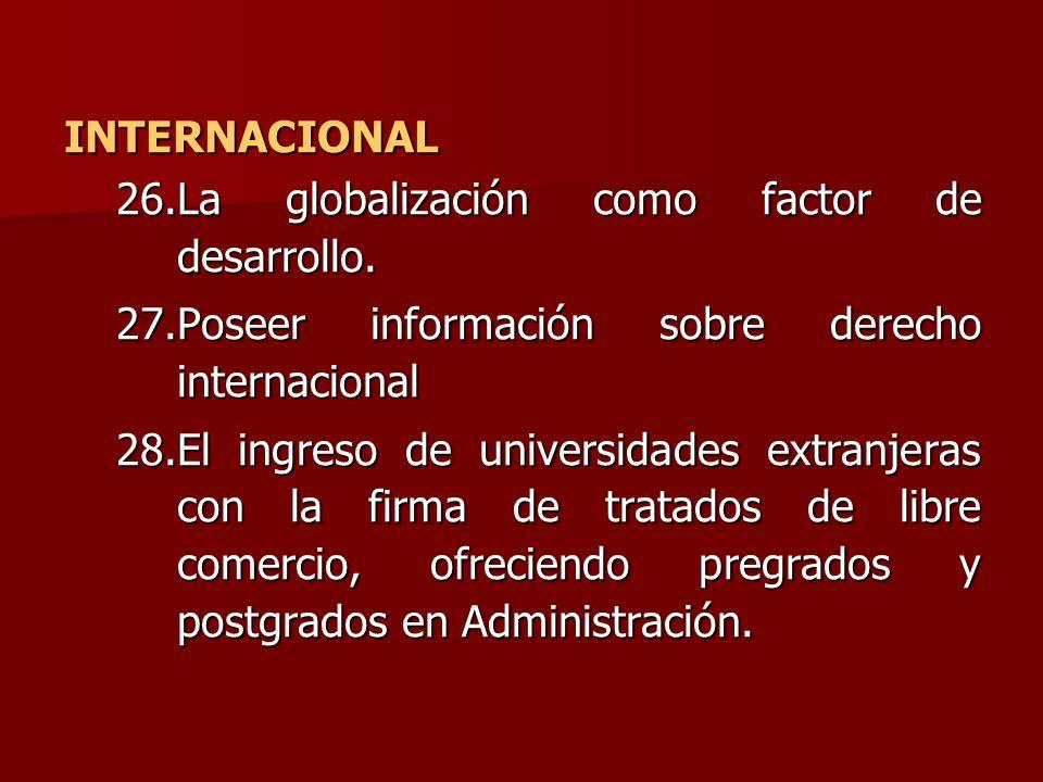 INTERNACIONAL La globalización como factor de desarrollo. Poseer información sobre derecho internacional.