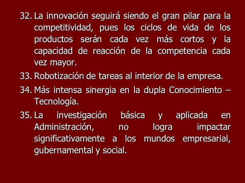 La innovación seguirá siendo el gran pilar para la competitividad, pues los ciclos de vida de los productos serán cada vez más cortos y la capacidad de reacción de la competencia cada vez mayor.