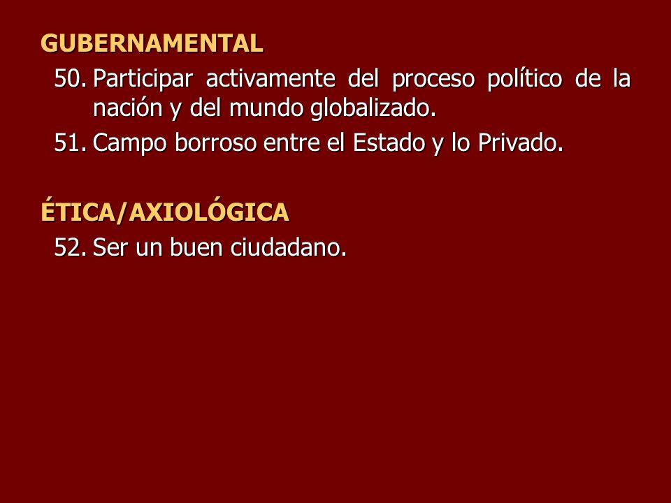 GUBERNAMENTAL Participar activamente del proceso político de la nación y del mundo globalizado. Campo borroso entre el Estado y lo Privado.