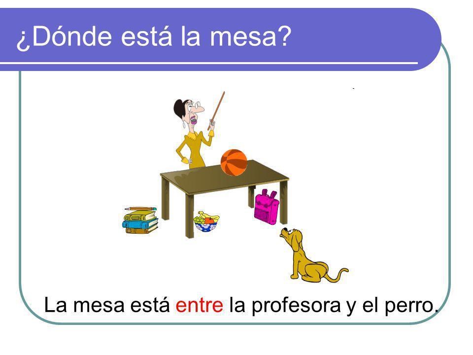 ¿Dónde está la mesa La mesa está entre la profesora y el perro.