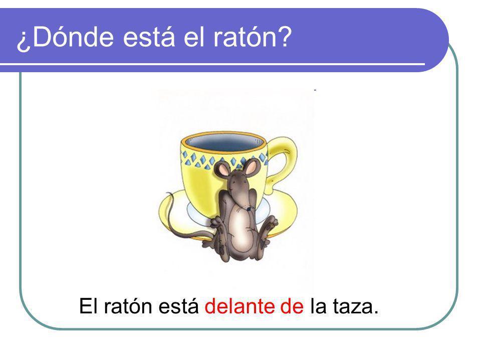 ¿Dónde está el ratón El ratón está delante de la taza.