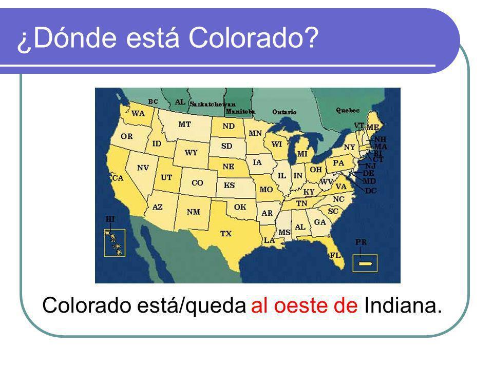 ¿Dónde está Colorado Colorado está/queda al oeste de Indiana.