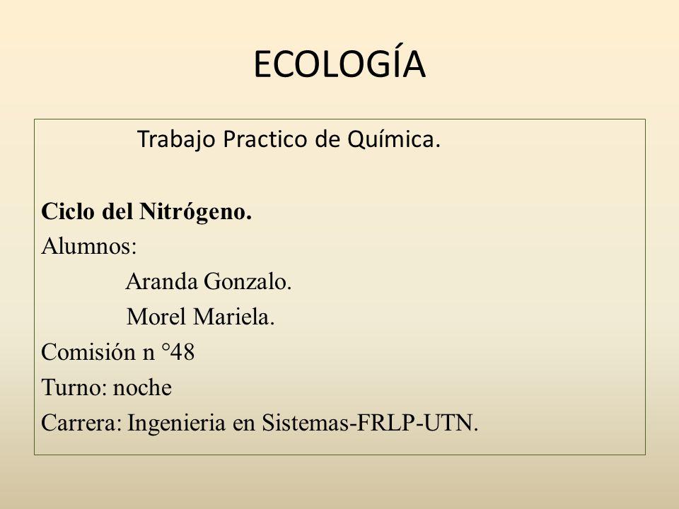 ECOLOGÍA Trabajo Practico de Química. Ciclo del Nitrógeno. Alumnos: