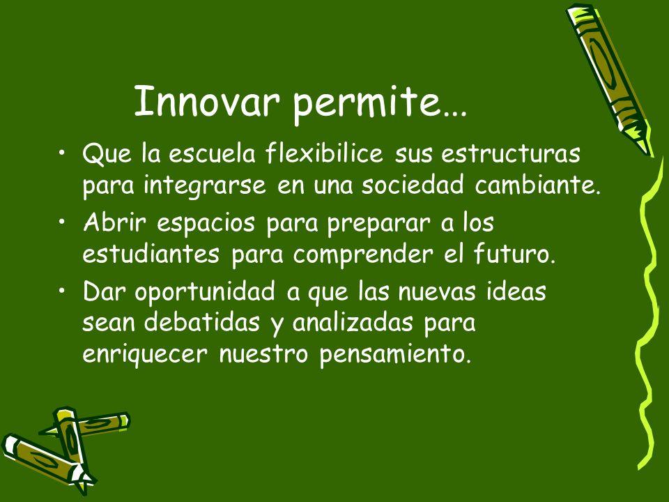 Innovar permite… Que la escuela flexibilice sus estructuras para integrarse en una sociedad cambiante.